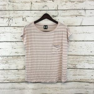 H By Bordeaux Ivory Striped Crewneck Knit Top $88
